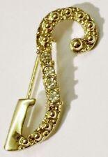 """broche bijou vintage monograme lettre """"S"""" cristaux diamant couleur or * 3435"""