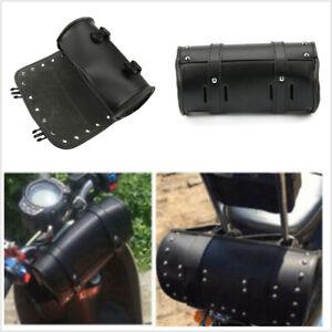 Motorcycle Tool Bag Handlebar Saddle Bag Sissy Bar PU Leather Storage Piped Edge