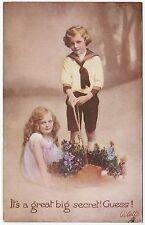 * RAPHAEL TUCK - It's A Great Big Secret - Little Sweethearts #525 - c1910s era