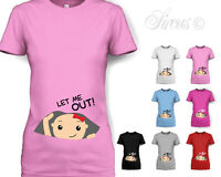 WOMENS 'LET ME OUT BABY GIRL' CUTE MATERNITY T-SHIRT PREGNANCY TSHIRT GIFT D2