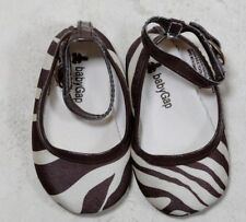 BABY GAP 3-6 MONTH SIZE 2 BABY GIRL BROWN & CREAM ZEBRA PRINT SOFT SOLE SHOES