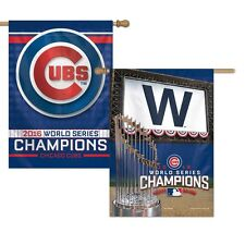 """CHICAGO CUBS 2016 WORLD SERIES CHAMPIONS 28""""X40"""" DOUBLE SIDED BANNER FLAG NEW"""
