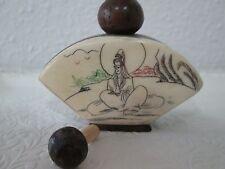 Vintage Asian Hand Carved Camel Bone & Wood Figural Snuff Bottle Beautiful!!