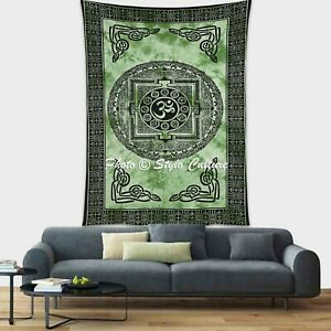 Indian Hippie Single Size Wall Hanging OM Bedding Tapestry Dorm Decor Throw