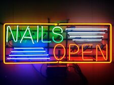 "New Nails Open Neon Light Sign 24""x20"" Lamp Poster Real Glass Beer Bar"
