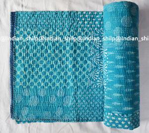 Indian Cotton Kantha Quilt Hand Block Print Coverlet Assorted Bedspread Blanket