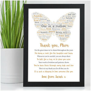 PERSONALISED Birthday POEM Gifts for Mum Mummy Nanny Granny Auntie Mom Gifts