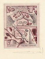 Surrealistic  Ex libris Etching by Alfonsas Cepauskas, Lithuania
