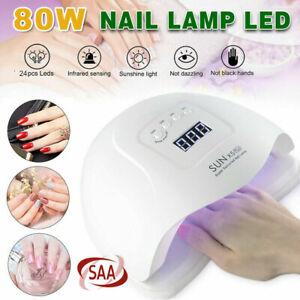 80W SUN FIVE UV Nail Lamp LED Light Gel Polish Dryer Curing Manicure Machine AU