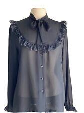 Retro OSCAR DE LA RENTA Womens Black chiffon Blouse Long Sleeve Bow & Lace