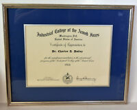 Vintage 1966 Diploma Industrial College Armed Forces Washington DC Certificate