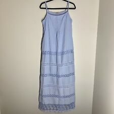 Soft Surroundings Maxi Blue Dress Cotton Lace Crochet Details Size M Tall