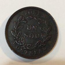 1837-38 Montreal, UN Bouquet Sou Token, Lower Bas Canada Breton 691