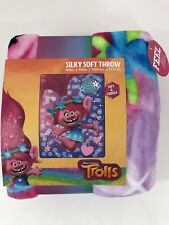 "Trolls Flower Power 40"" x 50"" Silky Soft Throw Blanket DreamWorks New"