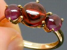 9ct Gold Garnet & Amethyst Art Deco Design Trilogy ring size M