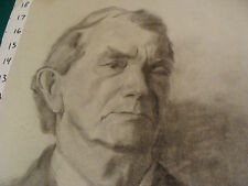 """vintage Drawing: OLDER MAN signed BOWERS aprox 12 x 19"""" early 1900's GREAT"""