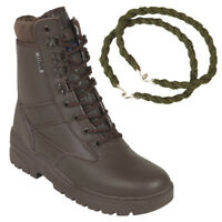 PATROL COMBAT BOOTS BROWN FULL LEATHER TACTICAL MILITARY WITH TROUSER TWISTS