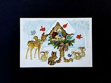 Vintage Unused Xmas Greeting Card Deer & Forest Animals Gathered Around Nativity