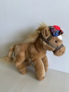 """RUSS BERRIE """"silky"""" Horse Plush Toy Doll - Scottish Hat - Approx 26cm Long"""
