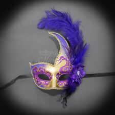 Feather Venetian Mardi Gras Masquerade Mask for Women Purple/Gold M6131