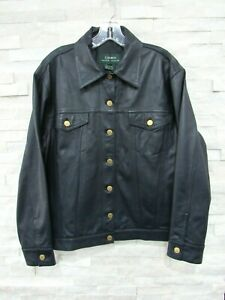 Ralph Lauren LRL Navy Blue Leather Gold Buttons Classic Jean Jacket Coat 1X