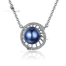 18k white gold GF simulated diamond blue pearl pendant necklace fashion jewelry