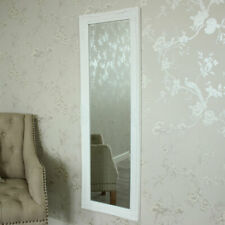 Tall slim white wall mirror shabby vintage chic French ornate bedroom hallway