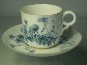 Antique 1893/4 Royal Worcester BLUE AND WHITE Chrysanthemum Coffee Cup & Saucer