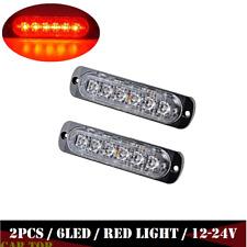 2X Red 6LED Car Truck Emergency Beacon Warning Hazard Flash Strobe Light 12-24V