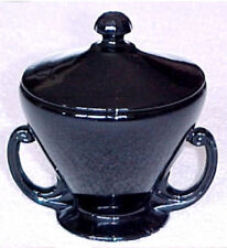 Fostoria Ebony Black Glass Candy Jar Bowl #2456 Handle  Lid Cover Modern Flair