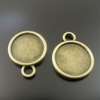 40PCS Antiqued Bronze 18mm Round Cabochon Settings Pendant Blank #23163