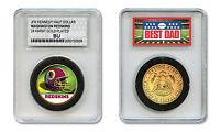 WASHINGTON REDSKINS #1 DAD Licensed NFL 24KT Gold Clad JFK Coin Slabbed Holder