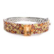 Victoria Wieck S Silver Sapphire & Citrine Multi Gemstone Hinged Bangle Bracelet