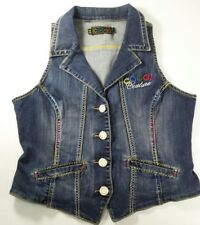 Coogi Denim Vest Womens L Large Blue Jean Bling Rhinestones Sleeveless