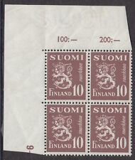 FINLAND :1950 10m purple -brown SG 435 nh mint corner block of four