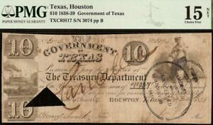 1838 $10 DOLLAR BILL GOVERNMENT of TEXAS HOUSTON BANK NOTE PAPER MONEY PMG 15