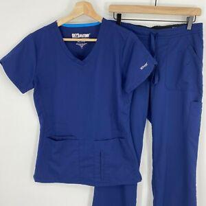 Grey's Anatomy Scrub Set Womens Small Navy Blue Short Sleeve Shirt Pants