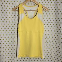 The North Face yellow white Flight Series exercise tank top bra pockets size L