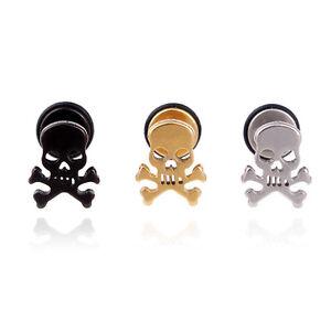 1 Pair Stainless Steel Punk Skull Men's Stud pierced Ear stud earrings Punk Rock