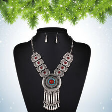 Tibet Silver Red Turquoise Stone Pendant Wooden Beaded Necklace Earrings Set Hot