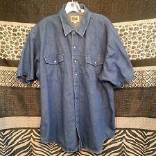 Ely Cattleman Denim Western Shirt Mens XXL Blue Pearl snap Button Down SS