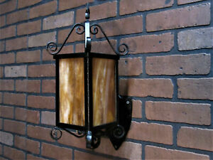 "Vintage Antique 1920's Porch Light Hand Wrought Iron 18 1/4"" T Craftsman Mission"