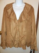 Jones New York Signature Woman Plus Size Faux Suede Ruffle Jacket Dk Barley 16W