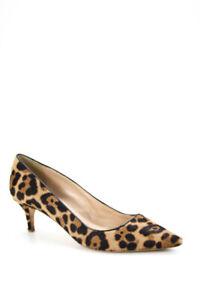 J Crew Women Fur Cheetah Print Pointed Toe Kitten Heel Pumps Brown Black Size 9M