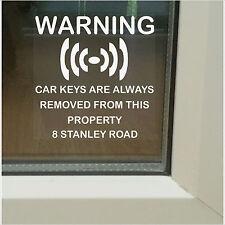 CHIAVI auto sono sempre rimosse da questa avvertenza property-home sicurezza stickers-pl