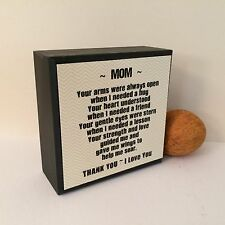 MOM THANK YOU Wood Box Block Sign Shelf Sitter Valentines Blk Mothers Day