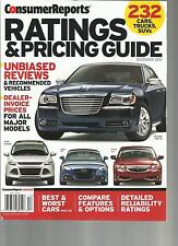 CONSUMER REPORTS, RATINGS & PRICING GUIDE,  DECEMBER, 2012 ( BEST 7 WORST CARS )