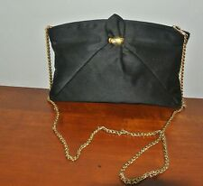 RODO BLACK SATIN EVENING HANDBAG_PURSE