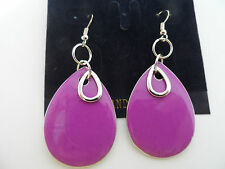 FUNKY RETRO PURPLE SILVER 60s 70s DOUBLE TEARDROP ENAMEL DISC DROP EARRINGS new