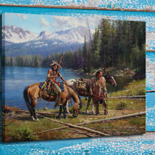 Home Wall Art Deco Painting Martin Grelle Cowboys and Indians Print Canvas 24x28